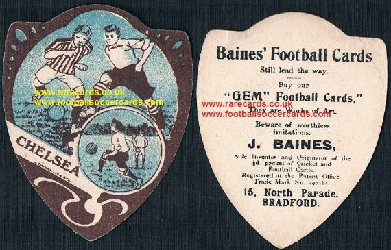 1900s Baines gem works of art Chelsea football card art nouveau frame